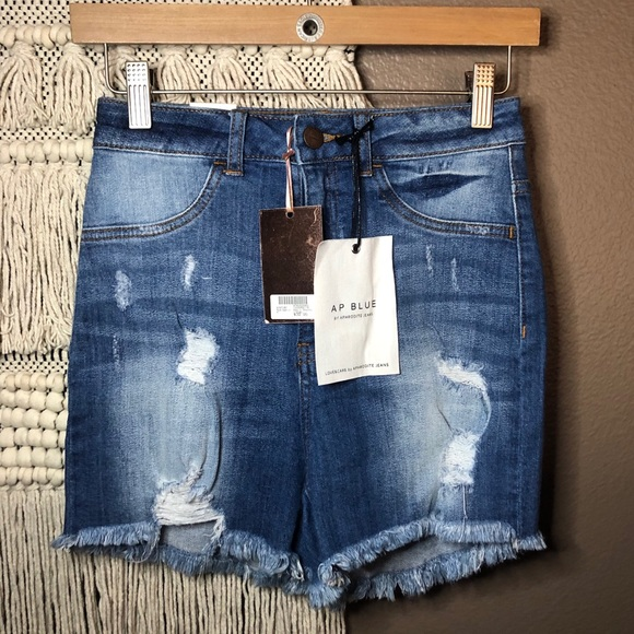 AP Blue by Aphrodite Distressed Denim Shorts